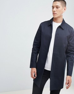 Темно-синий хлопковый макинтош с однобортным дизайном New Look