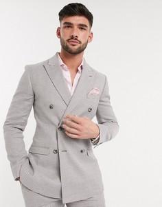 """Серый супероблегающий пиджак из ткани с добавлением льна и узором """"гусиная лапка"""" ASOS DESIGN"""