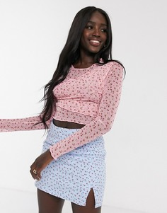 Топ из сетчатой ткани с длинными рукавами и мелким цветочным принтом Daisy Street-Розовый