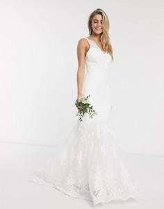 Свадебное платье макси с годе Chi Chi-Белый