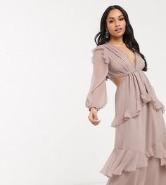Платье макси с длинными рукавами ASOS DESIGN Petite-Бежевый