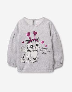 Серый свитшот с котёнком для девочки Gloria Jeans