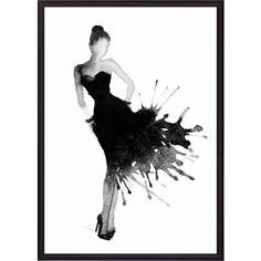 Постер в рамке Дом Корлеоне Черное платье Акварель 1 50x70 см