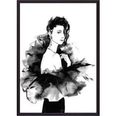 Постер в рамке Дом Корлеоне Девушка в черном Акварель 40x60 см