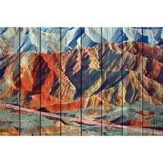 Картина на дереве Дом Корлеоне Цветные горы 100x150 см