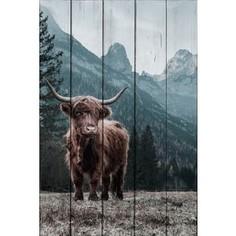Картина на дереве Дом Корлеоне Шотландский бык 100x150 см