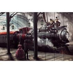 Картина на дереве Дом Корлеоне Поезд Стимпанк 80x120 см