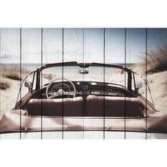 Картина на дереве Дом Корлеоне Машина на пляже 80x120 см