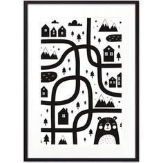 Постер в рамке Дом Корлеоне Медвежья тропа ЧБ 40x60 см