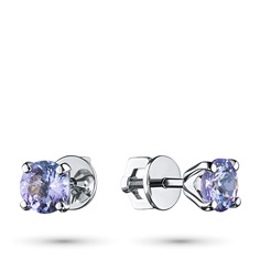 Пусеты из серебра с танзанитом п0608с_060506004 ЭПЛ Якутские Бриллианты