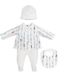 Fendi Kids комплект из комбинезона, нагрудника и шапки