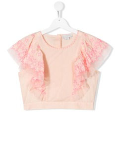 Stella McCartney Kids укороченная футболка с узором