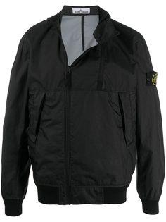 Stone Island куртка на молнии с нашивкой-логотипом
