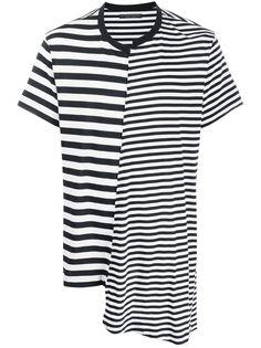 Yohji Yamamoto полосатая футболка асимметричного кроя