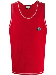 Gucci футболка с вышитым логотипом GG