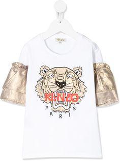 Kenzo Kids футболка с рукавами с эффектом металлик