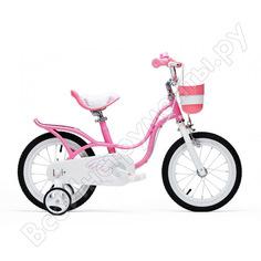 """Велосипед royal baby little swan 14"""" с багажником, стальная рама rb14-18 розовый"""