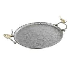 Поднос Glasar серебристого цвета с золотистыми птичками на ручках 53х43х11см ГЛАСАР