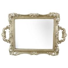 Поднос Glasar золотистого цвета с зеркальным основанием 27х4х40см ГЛАСАР