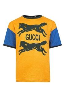 Разноцветная футболка с принтом Gucci