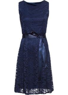 Короткие платья Платье из кружева с сатиновым поясом Bonprix