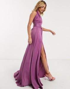 Лавандовое атласное платье макси Yaura-Фиолетовый