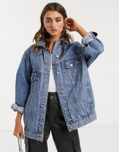 Синяя джинсовая куртка свободного кроя Topshop-Синий