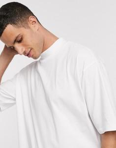 Белая футболка из органического хлопка с высоким воротом Threadbare-Белый