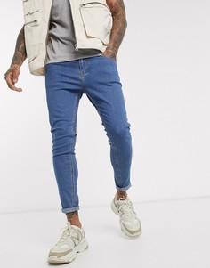 Синие джинсы супероблегающего кроя Bershka-Синий