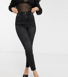 Черные супероблегающие джинсы с завышенной талией Stradivarius Petite-Черный