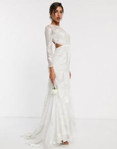 Свадебное платье с вышивкой и декоративной отделкой ASOS EDITION-Белый
