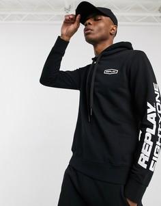 Худи черного цвета с логотипом Replay-Черный
