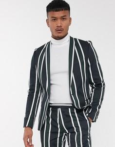 Зеленый приталенный пиджак в яркую полоску Twisted Tailor