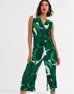 Комбинезон с пальмовым принтом AX Paris-Зеленый