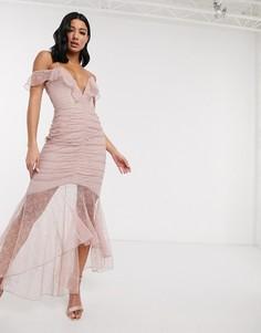 Присборенное платье макси Love Triangle-Розовый