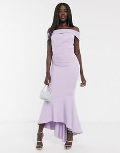 Лавандовое платье миди с открытыми плечами Chi Chi-Фиолетовый
