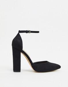Черные туфли-лодочки на блочном каблуке с ремешком ALDO-Черный
