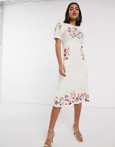 Кремовое чайное платье миди с вышивкой ASOS DESIGN-Кремовый