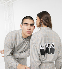 Oversized-рубашка унисекс в клетку с принтом COLLUSION-Мульти