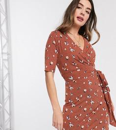Платье для беременных и кормления с запахом и цветочным принтом Mamalicious-Коричневый Mama.Licious