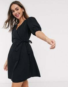 Черное поплиновое платье мини с запахом и пышными рукавами New Look-Черный