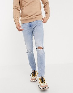 Голубые джинсы скинни с рваной отделкой Bershka-Синий