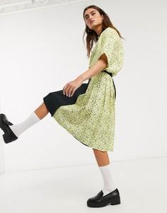 Плиссированная юбка с цветочным принтом Fred Perry x Precis-Черный