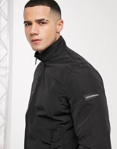 Черная куртка Харрингтон с логотипом на рукаве Emporio Armani-Черный