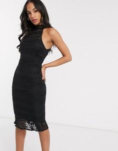 Кружевное платье миди с прозрачными вставками AX Paris-Черный