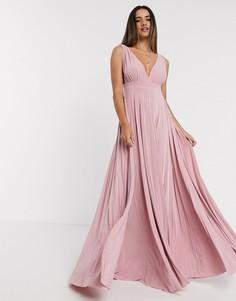 Светло-розовое плиссированное платье Goddiva-Розовый