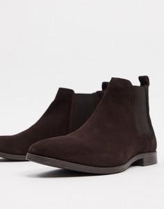 Замшевые коричневые ботинки челси Burton Menswear-Коричневый