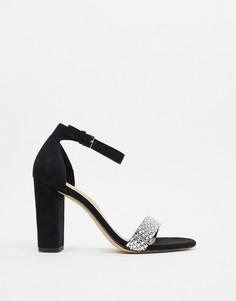 Черные босоножки на каблуке с отделкой стразами ALDO-Черный