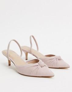 Светло-розовые туфли на среднем каблуке с ремешком на пятке и узлом ALDO-Розовый