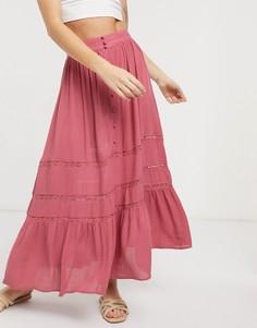 Розовая ярусная юбка макси из жатой ткани с кружевной вставкой ASOS DESIGN-Мульти